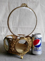 Antique Vanity Filigree Ormolu 5 Windows Bevel Glass Jewelry Casket Round Box
