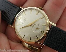MENS GRUEN PRECISION 14K YELLOW GOLD 415R MANUAL WIND MENS VINTAGE WATCH 32MM