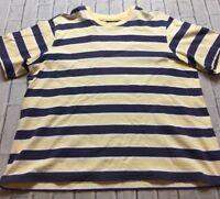 90s VTG STRIPED YELLOE Blue BOLD WIDE OVERSIZED T Shirt Normcore Boxy 2XL Grunge
