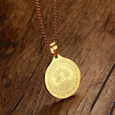 Stainless Steel Figure of Buddha Charm Pendant Necklace with Long Chain-gold