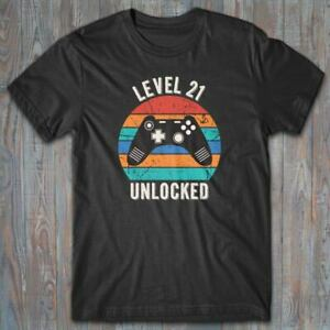 Cool T-shirt 21 Birthday - LEVEL 21 UNLOCKED gift for gamer