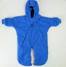 PATAGONIA Baby Puff Ball Snowsuit M 12-16 lbs Capilene Fleece Lined VTG 90s Blue