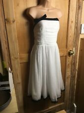 White Size 12 Strapless Party Prom Cocktail Evening Dress BNWT Black Trim Floaty