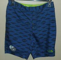The North Face Boys Amphibious Shorts 14/16 Large Blue Black Swim New Stripe