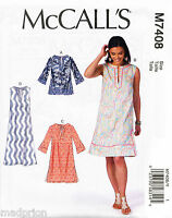 MCCALL'S SEWING PATTERN 7408 MISSES 4-14 SEMI-FITTED A-LINE DRESS, TUNIC & MAXI