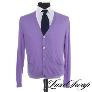 #1 MENSWEAR Ralph Lauren Purple Label 100% Cashmere Lilac Cardigan Sweater L NR