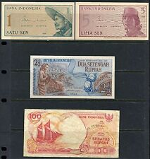 INDONESIA BANKNOTES 1s, 5s(1961), 2 1/2 r (1961), 100 r (1992)