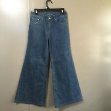 London Jean Hipster Faded Blue Denim Jeans Bell Bottom Cotton Blend Sz 6 EUC