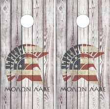 Molan Labe Wood Grain Cornhole Board Skin Wrap Decal Set LAMINATED