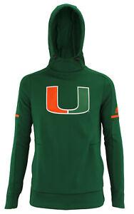 adidas NCAA Women's Miami Hurricanes Climawarm Team Logo Fleece Hoodie, Green