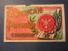 Old Antique - AMERICAN PREMIUM CIGARROS - CIGARETTES / Tobacco Package - LABEL