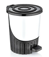 White Pedal Bin 26L Round Dustbin Bathroom Kitchen Litter Waste Bin Foot Flip