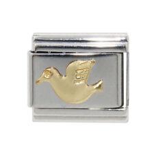 Gold Dove (b) enamel Italian Charm - fits 9mm classic Italian charm bracelets