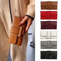 Fashion Women Long Clutch Bags Leather Multi-Slots Solid Card Purse Wallet