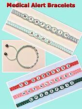 Medical Alert I.D SOS Awareness Bracelets Any Medical Condition With Gift Bag
