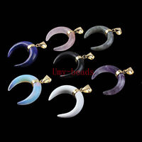 Natural Amethyst Rose Quartz Lapis Lazuli Opal Crescent Shape Gemstone Pendant