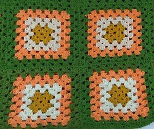 """Handmade Granny Square Crochet Blanket Throw Afghan 42""""x 42"""" Green orange vtg"""