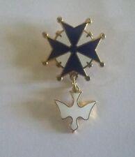 Croix huguenote (pins émaillé) bleue et blanche, modèle original