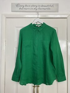 Boden Top UK 12 Green 100% Linen Button Up Shirt NEW WITH TAGS Casual Smart