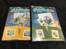 Set of 2 ~ Craft Master Paint By Number Shrinking Pictures ~ Mountain / Still