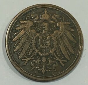1903 J Germany Empire 1 Pfennig 1903J Coin Rare