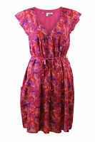Ex Crew Clothing Womens Summer Pink Red Chiffon Floral Belted Tea Dress size 10