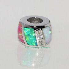 Silver Opal Bead European Charm Pendant 925 Sterling Green Pink White Fire & CZ
