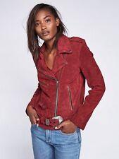 Free People X Understated Wine Leather Suede Western Moto Jacket Large NWOT $498