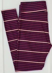 TC LuLaRoe Tall & Curvy Leggings Navy Blue Purple Pink Stripes NWT F35