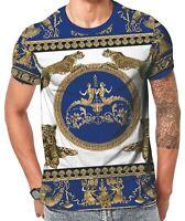 Leopard baroque t shirts, urban hip hop mens & ladies designer tees royal blue