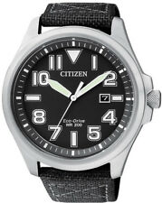 Citizen Eco-Drive Steel Nylon Strap Mens Watch AW1410-24E. 200m. Military Look