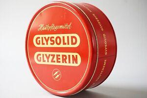 XL Tin Box Glysolid Glyzerin Dose Blechdose Alte Reklame Ø 23 cm 1Z