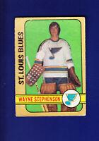 Wayne Stephenson RC 1972-73 O-PEE-CHEE OPC Hockey #275 (GOOD) St. Louis Blues