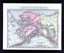 1908 Rand McNally Map - Alaska - Sitka Juneau Nome Klondike Dawson Yukon Canada