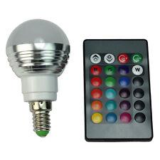 LED Gluehbirne + Fernbedienung Farbwechsel Leuchte, E14 3W RGB LED-Lampe Bu O3A6