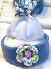 NEW GAP FLEECE HAT w/ ROSE 12 18 24 MONTHS GIRLS INFANT BABY TODDLER BLUE WINTER
