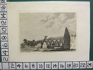 1785 DATED ANTIQUE YORKSHIRE PRINT ~ COVERHAM ABBEY ~ HOOPER