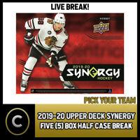 2019-20 UPPER DECK SYNERGY HOCKEY 5 BOX (HALF CASE) BREAK #H539 - PICK YOUR TEAM