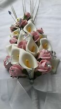 PINK & IVORY ARTIFICIAL FLOWERS FOR BRIDE / BRIDESMAIDS WEDDING BOUQUET