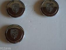 PORSCHE 911 930 3 CHROME WHEEL CENTER CUP'S WITH PORSCHE CREST THREE CUP'S