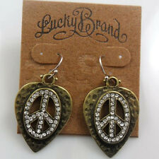 New Alloy Retro peace gold tone Lucky Brand Beautiful Earrings