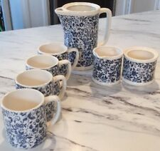 Vintage Enesco Seven Piece Drinkware Set Blue Toile Mint 4 Cups Sugar Creamer