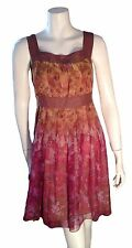 Anthropologie Anna Sui Sleeveless Pleated Silk Lined Belted  Dress -Size 0 XS
