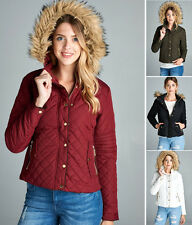 Women's Quilted Puffer Faux Fur Hoodie Bomber Jacket Coat Winter Black Burgundy