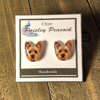 Yorkie Dog Stud Earrings-YORKSHIRE TERRIER-Pet-Animal-Puppy-Handmade-Fur Baby
