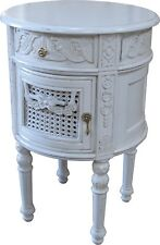 French Round Bedside with drawer and cupboard Antique White BS025P