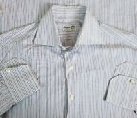 Finamore Napoli Men's Purple Stripe Spread Collar Dress Shirt Sz 15.75-33