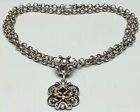 Trachtenschmuck Collier 800 Silber punziert Teilvergoldet Granat Besatz /A190