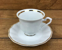 Vintage Walbrzych Poland Empire Cup And Saucer Gold Trim