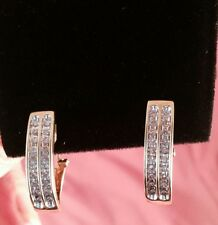 10K Yellow Gold Double Row Genuine Diamond Earrings!! .60 total carat weight!